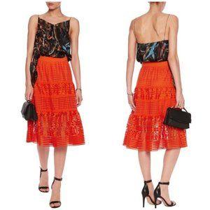 Diane Von Furstenberg Tiana Orange Lace Skirt 8